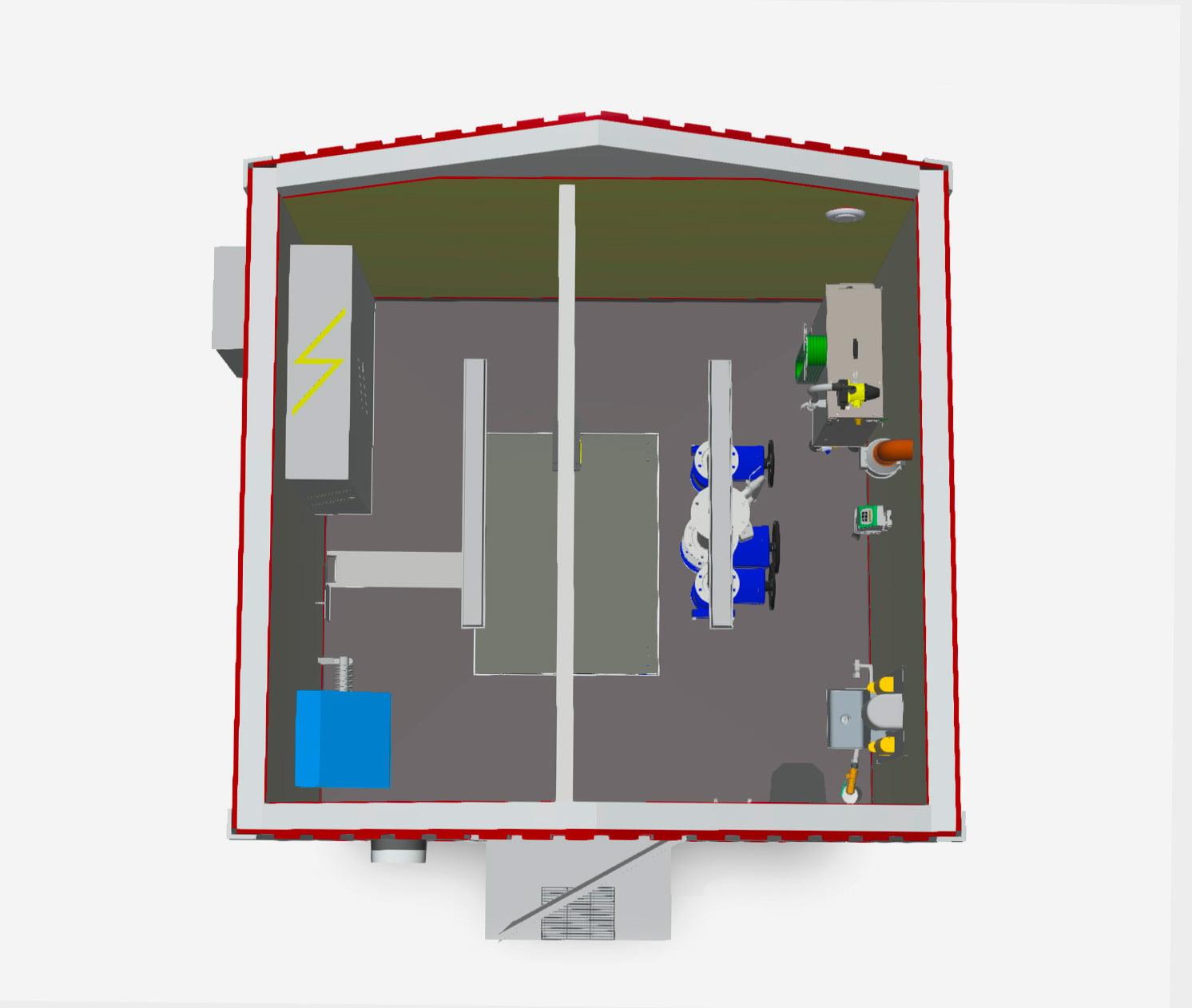 VÖ Pumpstation: genomskärning överbyggnad