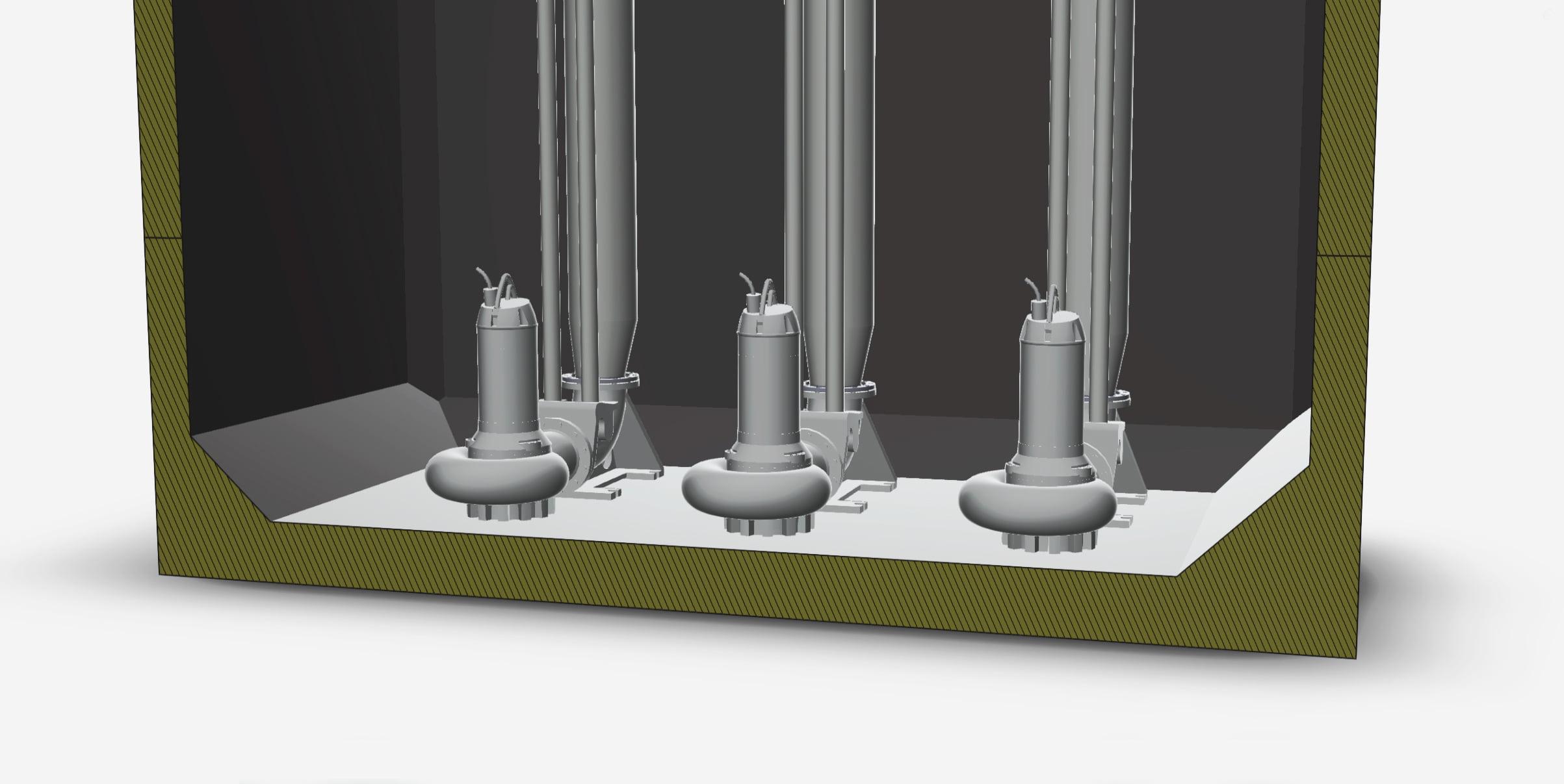 Större VP-station med moduler: sektion med pumpar i brunnen