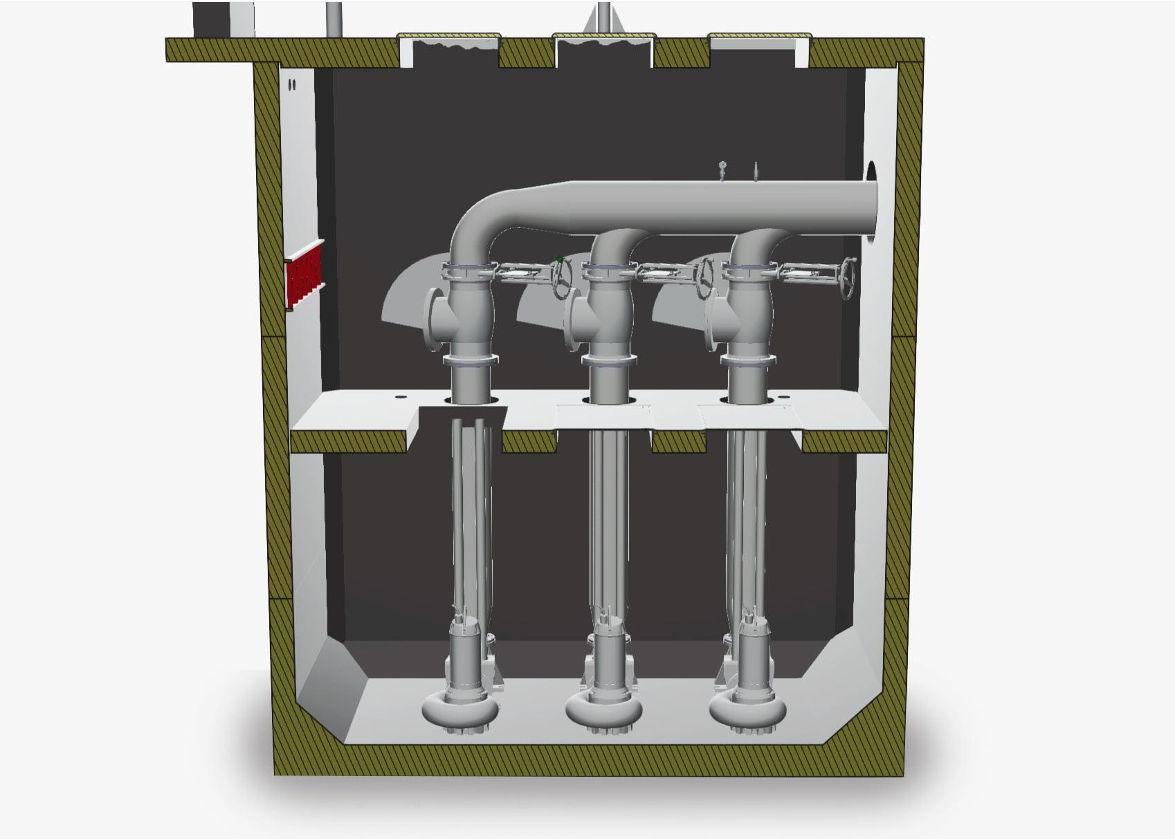 Större VP-station med moduler: sektion med ventiler
