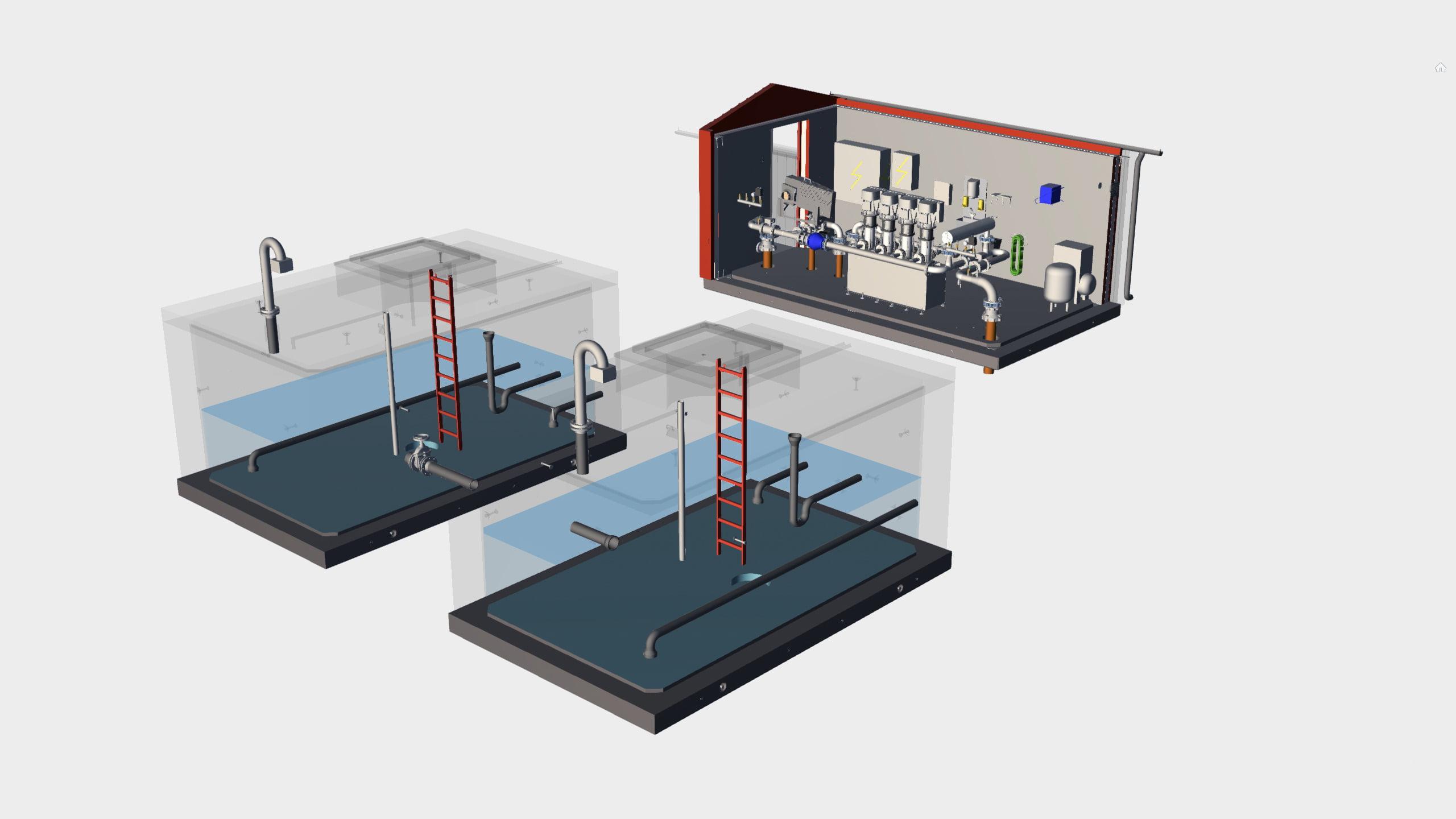TS Tryckstegringsstation med lågreservoar: genomskärning