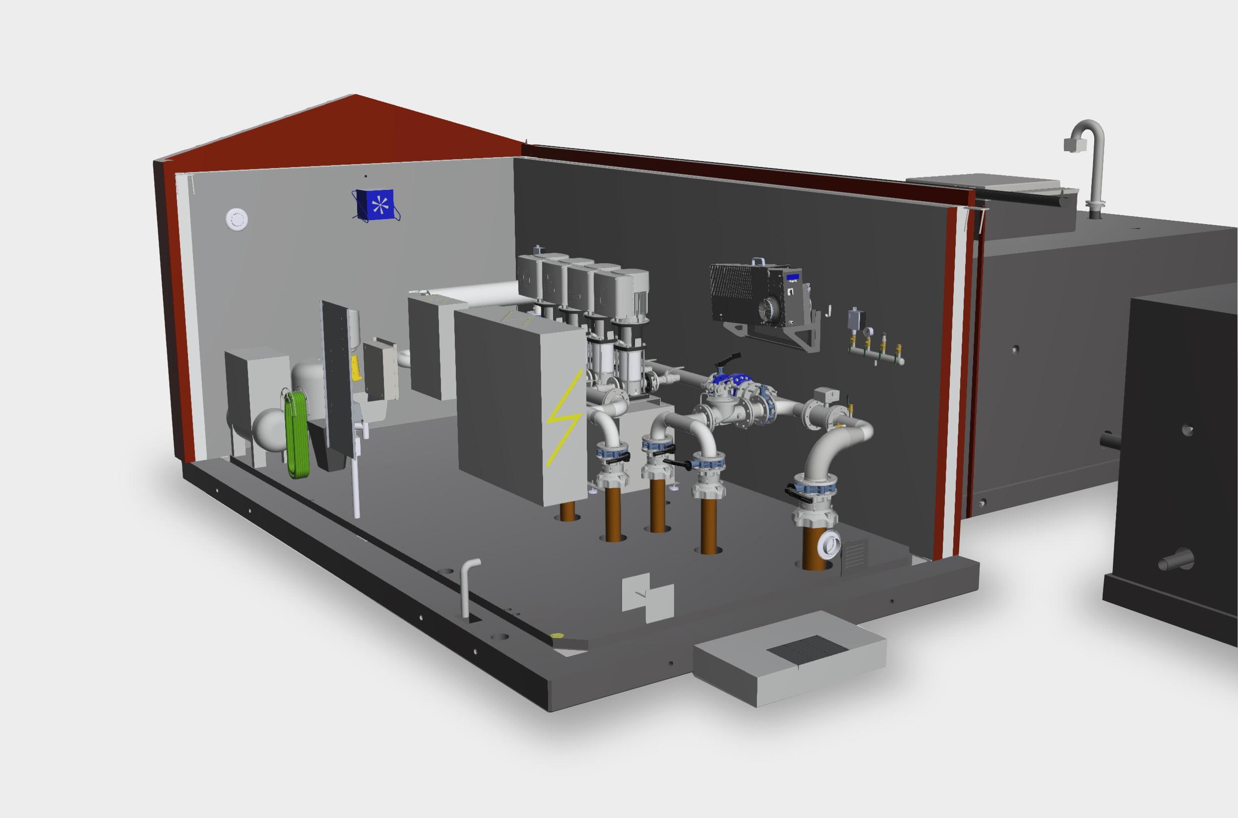 TS Tryckstegringsstation med lågreservoar: genomskärning överbyggnad