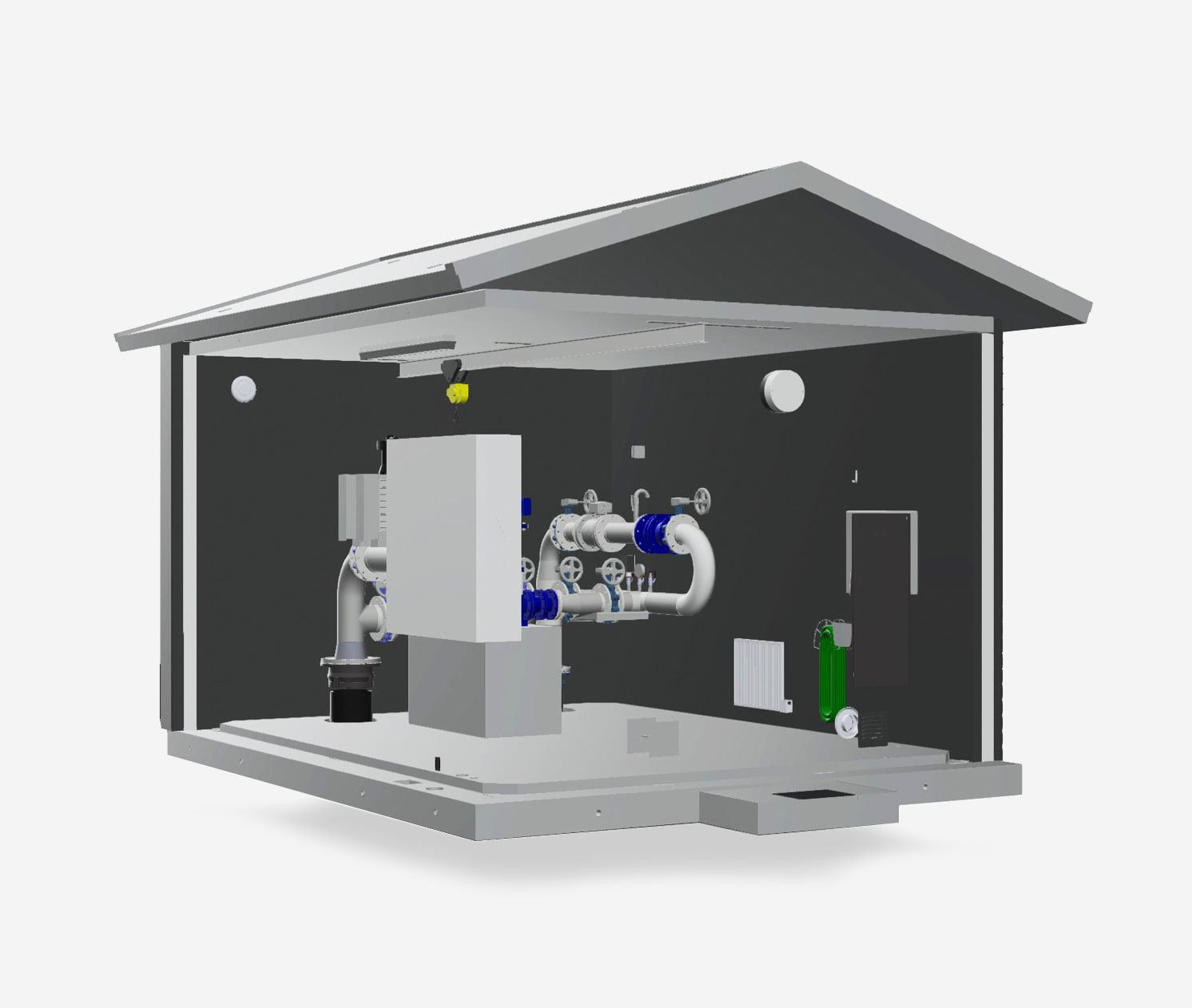 TS Tryckstegringsstation: genomskärning